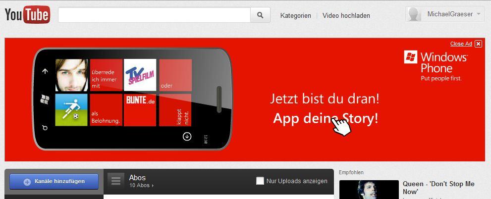 Werbebanner auf YouTube geschaltet